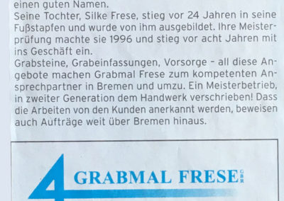 Grabmal Frese: aus Tradition gut